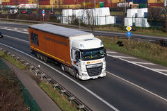 DUSSELDORF ,GERMANY - FEBRUARY 16: transport truck on the highwa Royalty Free Stock Photo