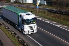 DUSSELDORF ,GERMANY - FEBRUARY 16: transport truck on the highwa Stock Photo