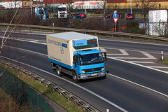 DUSSELDORF ,GERMANY - FEBRUARY 16: transport truck on the highwa Stock Images