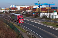 DUSSELDORF ,GERMANY - FEBRUARY 16: transport truck on the highwa Stock Photos