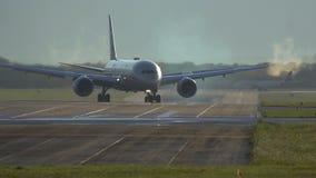 Etihad Airlines Boeing 787 Dreamliner turns from runway stock video footage