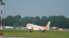 SAAB 2000 Etihad regional take-off. DUSSELDORF, GERMANY - JULY 22, 2017: Etihad regional SAAB 200 take-off. Dusseldorf Airport Germany stock video