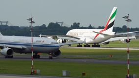 Airbus A380 of Emirates landing stock video