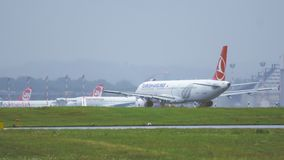 Airbus A321 of Turkish Airlines taxiing stock footage