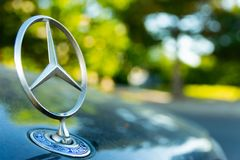 Dusseldorf Germany July 1st 2018: First class bokeh with mercedes benz star stock photo