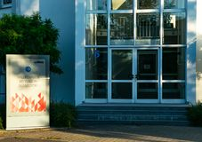 Dusseldorf Germany July 1st 2018: Large advertising company entrance WALL in duesseldorf stock photography