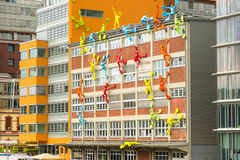 DUSSELDORF. GERMANY Junr 04, 2017 Colorful figures on Roggendorfer Haus building. Stock Photography