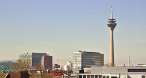 View above Dusseldorf royalty free stock photo