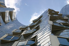 Dusseldorf, Germany, the Neuer Zollhof, futuristic building in stainless steel of Frank O. Gehry Royalty Free Stock Image