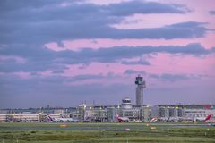 Dusseldorf , Germany - October 05 2017: The sun is producing amazing colours above the airport of Duesseldorf. DUESSELDORF , GERMANY - OCTOBER 05 2017: The sun Royalty Free Stock Images
