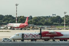 DUSSELDORF, GERMANY SEPTEMBER 03, 2017: Airbus A320 Air Berlin at the airport of Dusseldorf while taxiing Stock Image