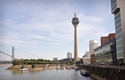 Dusseldorf innenhafen. View at Dusseldorf innenhafen in a nice summer day Stock Photo