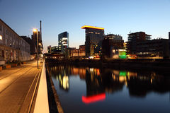 Dusseldorf Media Harbor at night Royalty Free Stock Photography