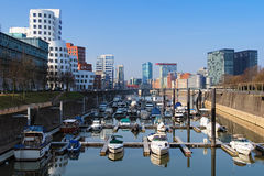Dusseldorf, Media Harbour with modern buildings Stock Photos
