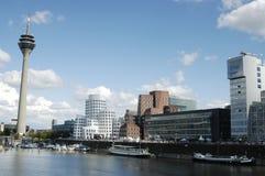 Dusseldorf MediaHarbor in der Mikrobe Lizenzfreies Stockfoto
