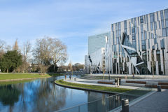Shopping Mall in Dusseldorf. The new water ditch at the end of the Koe  (short form for the Boulevard Koenigsallee -Kings Alley) in Dusseldorf, Germany Stock Image