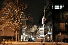 Dusseldorf, monument to Otto von Bismarck in night Stock Photography