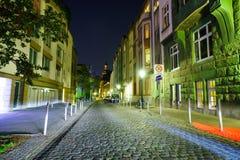 dusseldorf natt Arkivfoton