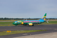 DUSSELDORF - 22nd JULY 2016: Airport - colorful Airplane is taxiing for take off. Stock Images