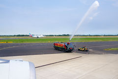 DUSSELDORF - 22nd JULY 2016: Singapore Airlines Airbus A350 inaugural flight water canon salute Royalty Free Stock Images