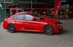 Dusseldorf Niemcy, Maj, - 11, 2017: Czerwony Alfa Romeo Giulia Veloce Obraz Stock