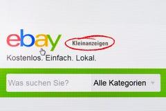 Dusseldorf Niemcy, Maj, - 09, 2017: strona internetowa Germany Ebay mała reklama - Ebay kleinanzeigen Zdjęcie Royalty Free