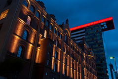 Dusseldorf. Night shot of old and modern building in Dusseldorf,Germany Stock Photos