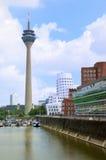 Dusseldorf panorama med tornet Arkivbild