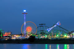 Dusseldorf Rhine funfair, funfair lighting in the evening Stock Photo