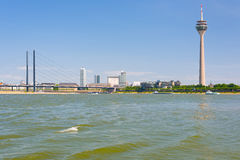 Dusseldorf and the Rhine river in a summer day Stock Image
