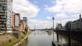Dusseldorf's Landmarks. Media Harbour of Dusseldorf with modern buildings Stock Images