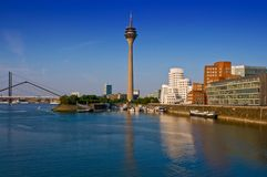 Dusseldorf Skyline. With the Rhine Tower and Media Harbor Royalty Free Stock Image