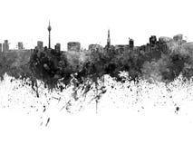 Dusseldorf skyline in black watercolor Royalty Free Stock Photos