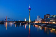 Dusseldorf Skyline at the Blue Hour. Skyline of the city Düsseldorf in Germany Stock Photo