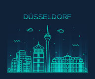 Dusseldorf skyline vector illustration linear Stock Image