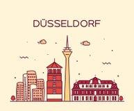 Dusseldorf skyline vector illustration linear Royalty Free Stock Photo