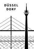 Dusseldorf-Stadtplakat mit Brücke, Fluss und Fernsehen ragen hoch Stockfoto