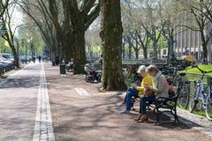 Dusseldorf - street life on boulevard Koenigsallee beside Dich stock photography