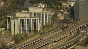 Dusseldorf von der Höhe des Vogelfluges stock footage