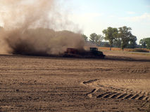 Dust in agricultural work Royalty Free Stock Images