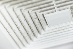 Dust and dirty airduct. Dust out from Air Duct, Danger and the cause of pneumonia in office man Stock Photo