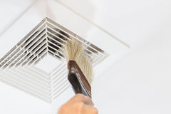 Dust and dirty airduct. Dust out from Air Duct, Danger and the cause of pneumonia in office man Stock Images