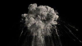 Dust explosion. Large dust explosion with a reverse playback. With alpha channel and loop. High details stock illustration