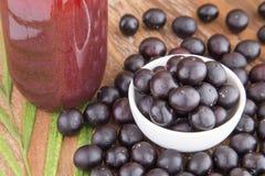 Dust, fruit and juice of acai Euterpe oleracea Stock Photos