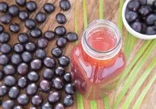 Dust, fruit and juice of acai Euterpe oleracea Royalty Free Stock Image