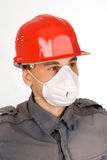 Dust Mask Respirator. And red hardhat royalty free stock photography