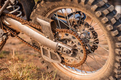 Dust on the motocycle wheel Royalty Free Stock Photo