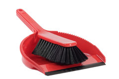 Dust pan with sweeper. Red dust pan and sweeper - isolated on white background Stock Photos