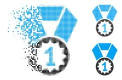 Dust Pixel Halftone First Place Medal Icon. First place medal icon in dissolved, pixelated halftone and entire variants. Elements are grouped into vector vector illustration