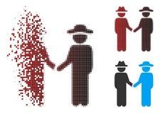 Dust Pixel Halftone Gentleman Handshake Icon royalty free illustration